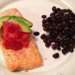 salmon with avocado salsa, yum!